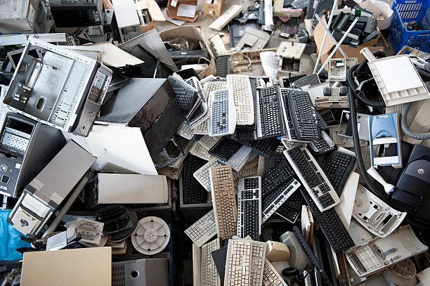 Obsolete computer electronics equipment for recycling,